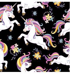 Seamless pattern with beauty unicorns black vector