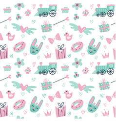 Seamless pattern with cute rabbit train gift vector