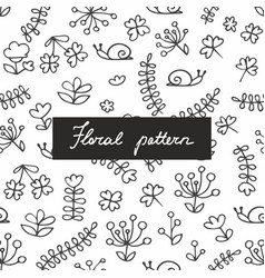 Seamless pattern with small plants and flowers vector