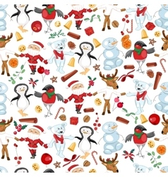 Seamless pattern with traditional Christmas vector image