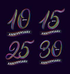 Set 10 15 25 30 years anniversary hand vector