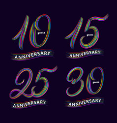 Set of 10 15 25 30 years anniversary hand vector