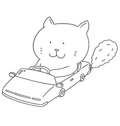 Set of cat driving car vector