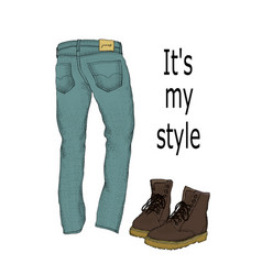 Set of mens clothing jeans and boots isolated on vector