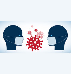 silhouettes two people in medical masks virus vector image