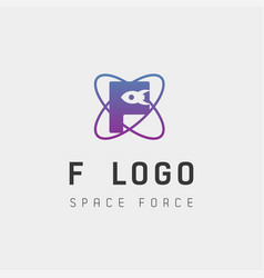 Space force logo design f initial galaxy rocket vector