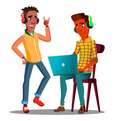 student looking at laptop and listening to music vector image