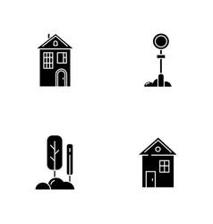 Suburban life black glyph icons set on white space vector
