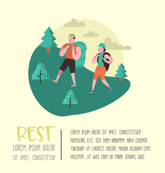 summer camping poster banner people hiking vector image