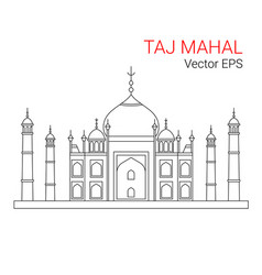 Taj mahal india line flat icon isolated vector