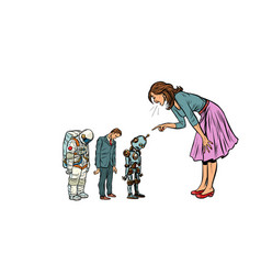 The woman scolds businessman spaceman and robot vector