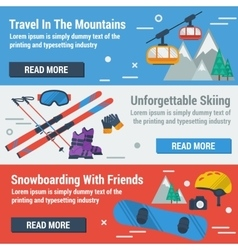 Three banners skiing and snowboarding vector