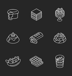 Traditional desserts chalk white icons set on vector