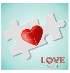 True love concept with pieces red heart puzzle vector