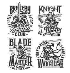 tshirt prints with knight warriors with sword vector image