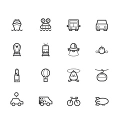 Vehicle black icon set on white background vector