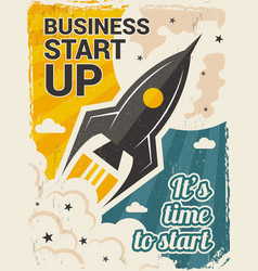 vintage startup poster business launch concept vector image