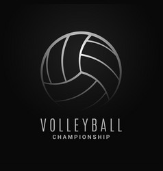 volleyball ball logo volleyball champion on black vector image