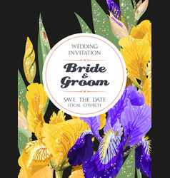 Wedding invitation with iris flowers vector