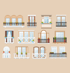 windows and balconies facade exterior vector image
