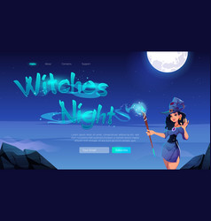 witches night banner with woman with magic wand vector image