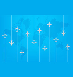 world travel concept with modern aircrafts vector image
