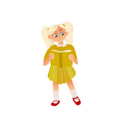 cartoon girl in dress reading book vector image