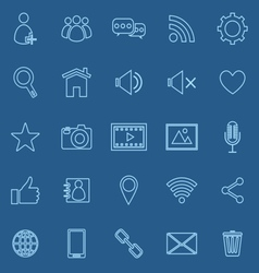 Chat line icons on blue background vector