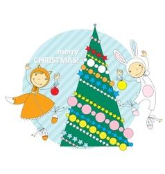 Children in Christmas costumes vector image