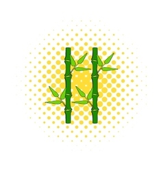 Green bamboo stem icon in comics style vector image