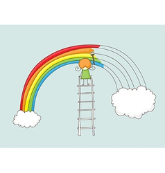 painting rainbow vector image vector image