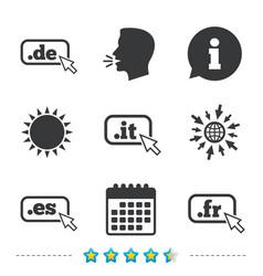 Top-level domains signs de it es and fr vector