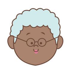 woman elderly face head female cartoon vector image