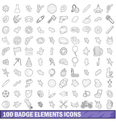 100 badge elements icons set outline style vector image vector image