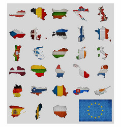 collection of maps and flags of the european vector image