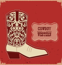 Cowboy boot card background western with te vector image vector image