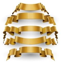 Gold Glossy ribbons set vector image vector image