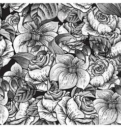 Seamless Monochrome Floral Pattern with Roses vector image vector image
