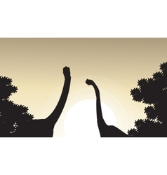 Collection of brachiosaurus landscape silhouettes vector image vector image
