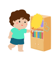 Cute boy wiping the dust from bookshelf vector