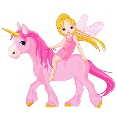 cute little fairy riding on a unicorn vector image