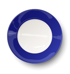 Empty dark blue plate isolated on white vector image vector image