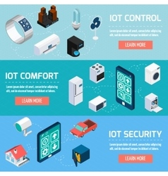 Iot household isometric banners set vector
