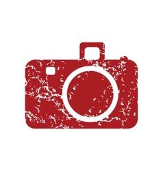 Red grunge camera logo vector image