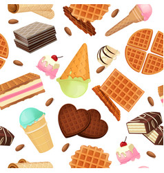 seamless pattern from vaffel desserts and sweets vector image vector image
