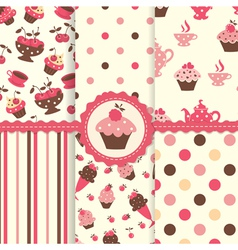 Set of cake patterns vector image