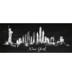 Silhouette chalk New york vector image