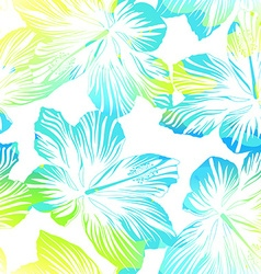 Tropical flowers white seamless pattern with vector image vector image