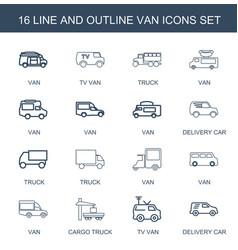 16 van icons vector image