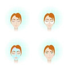 4 pictures beauty care procedures vector image
